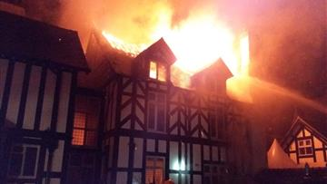 Fire at an 19th century mansion near Tarporley
