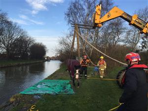 Firefighters rescue horse in canal in Sandbach