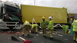 One of the lorries involved in M6 road traffic collision