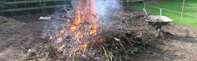rubbish on fire in a garden