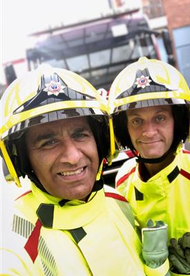 Firefighter Usman Akhtar and his colleague at Wilmlsow Fire Station