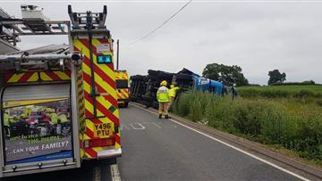 Overturned lorry in Nantwich