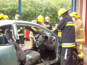 Prince's Trust team take part in a road traffic collision extrication