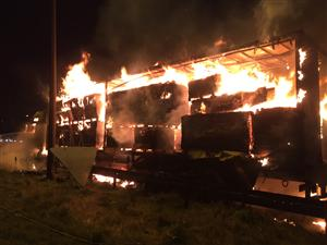 Lorry on fire on M6