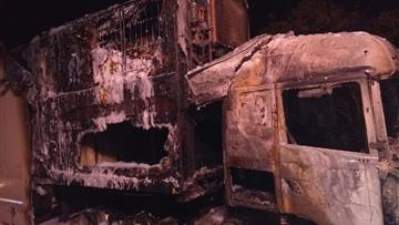 Lorry after the fire was extinguished