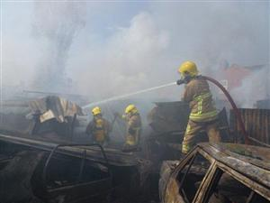 Firefighters tackling the blaze in Crewe