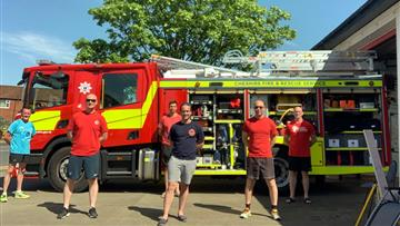 : The fundraising firefighters, from left, Crew Manager Graham Maher, Al Rimmer, Mike Dutton, Watch Manager Andy Clarke, Neil Hoey and Marty Royal