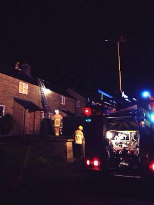 Firefighters dealing with chimney fire in Disley