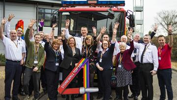 Cheshire Fire and Rescue Service employees celebrating being in the top five of LGBT charity Stonewall's prestigious Top 100 Employers list for 2018