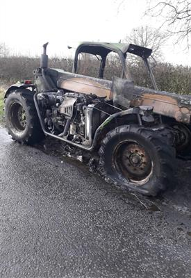 Tractor on fire in Macclesfield