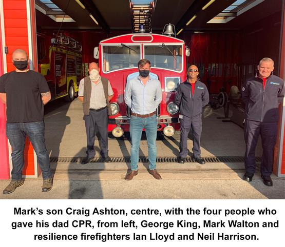 Mark's son Craig Ashton, centre, with the four people who gave his dad CPR, from left, George King, Mark Walton and resilience firefighters Ian Lloyd and Neil Harrison
