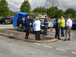Crew and Road Safety team talking to drivers at Hapsford Services