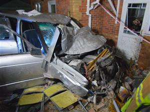 Car in collision with house in Crewe