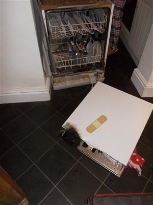 Dishwasher after fire at a house in Gravel Lane