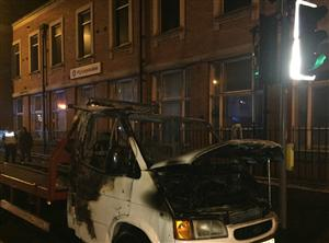 Damage caused after fire involving vehicle transporter