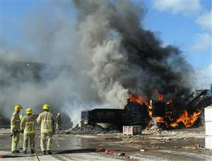Firefighters tackling a fire in Wardle