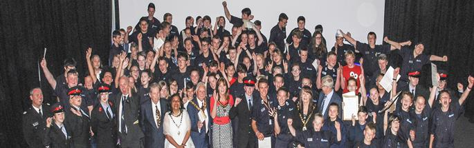 Cheshire Fire Cadets and Leaders at a celebration event