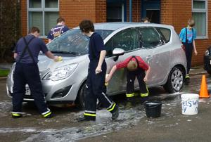 Charity car wash at Middlewich Fire Station