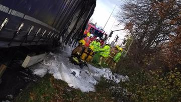 HGV fire on the A556