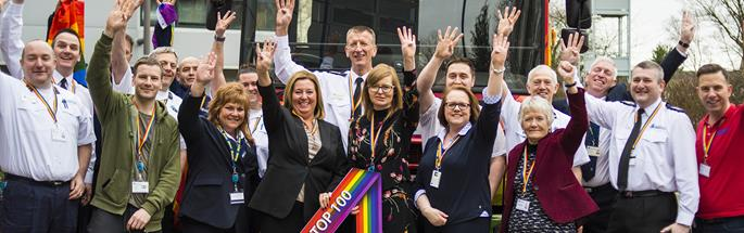CFRS staff celebrate fourth place in the Stonewall Top 100 Employers index 2018