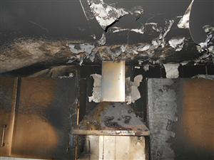 Damage caused by a chip pan fire in Widnes