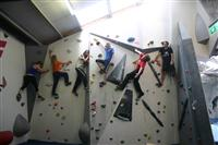 Joe and friends on the climbing wall