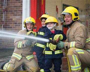 Firefighters with children