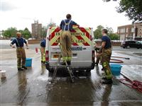 Fire Fighters Charity car wash in Ellesmere Port Station