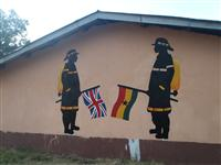 A mural that has been painted on the school wall by cadets