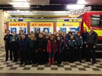 Scouts on a visit to Ellesmere Port Fire Station