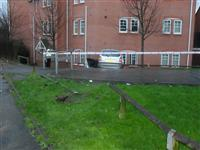 Car involved in road traffic collision with a building