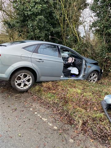 One vehicle collision near Knutsford