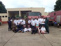 Fire Cadets visiting a fire station near Ho in Ghana, Africa