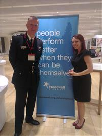 Chief Fire Officer Paul Hancock and Alex Gwynne, Stonewall's Client Account Manager for the North West