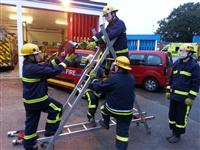Cheshire fire cadets training at their local fire station