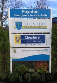 The sign outside the new emergency service's hub in Poynton