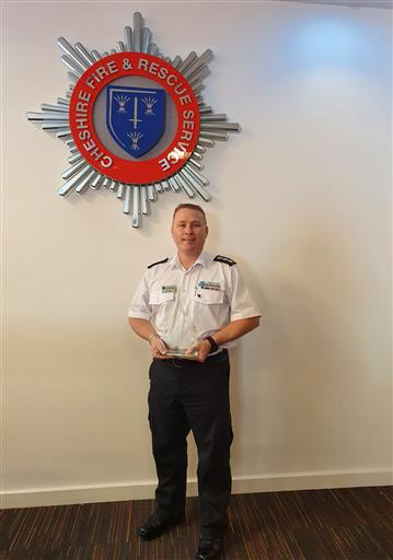 Station Manager Andy Gray with the Tyresafe Emergency Services Award 2020