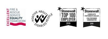 Logos for equality framework, positive about disablle people and stonewell