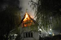 Thatched roof fire in Arley, Northwich