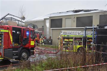 Aerial ladder platform tackling the fire at Chester Zoo