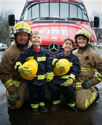 Firefighters and children