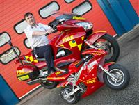 Mini moto and firebike with Road Safety manager Colin Heyes