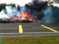 HGV fire on the A500 - Photo taken by BBC Radio Stoke