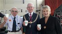 Councillors enjoying coffee at Wilmslow Station open day