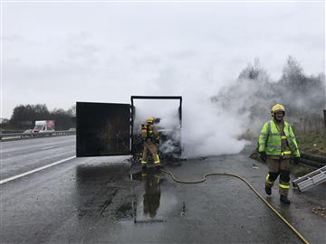 Lorry fire on M62
