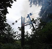 Two telegraph poles carrying power cables were involved in fire in Nethe Alderley