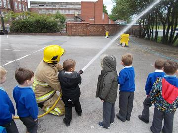 Firefighter and children
