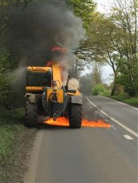 Tractor on fire in Northwich