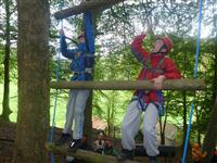 Climbing up the high ropes
