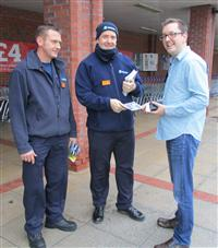 Crew Manager Stuart Guy and Firefighter Jason James promoting Brake Road Safety Week